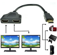 1080P HDMI Port Male to 2 Female 1 In 2 Out Splitter Cable Adapter Converter KY