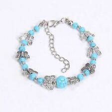 Tibetan Silver Adjustable Beaded Turquoise Bangle Jewelry Bracelet Butterfly Blue