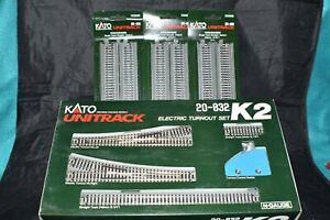 KATO N-Scale 20-832 K2 Electric Turnout Set & 3 x 20-400 Unitrack Straights