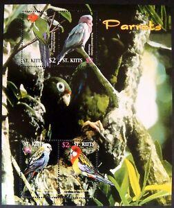 ST. KITTS PARROTS STAMPS SHEET 2005 MNH PARROT BIRD ROSELLA COCKATOO WILDLIFE