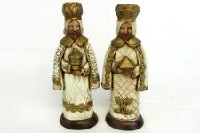 Set of 2 Vintage Ceramic Wise Men King Taper Candle Holder Hand Painted Signed