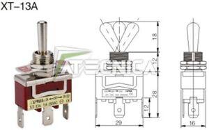 Interrupteur à levier ON-OFF-ON 250V 15A faston 6,3 microinterrupteur à levier