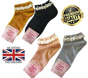 New Ladies 4 Pairs Floral Lace Pearl Detail Frilly Ankle Trainer Socks
