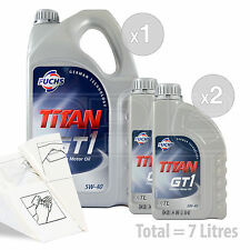 Car Engine Oil Service Kit / Pack 7 LITRES Fuchs TITAN GT1 XTL 5W-40 7L