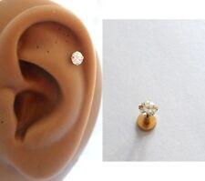 Gold Titanium Clear Crystal Helix Cartilage Stud Barbell Post 16 gauge 16g