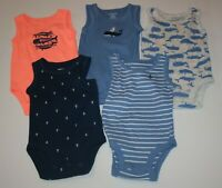 New Carter's 5 Pack Bodysuits NWT NB NB 3m Boys Tops Tank Top Whale Anchor