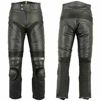 Mens Leather Biker Pants Slim Heavy Duty Lining Motorcycle Jeans Trousers Black