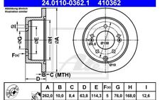 ATE Juego de 2 discos freno 262mm para KIA CERATO SOUL 24.0110-0362.1