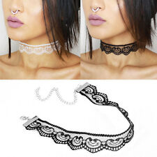 Newly Lace Heart Crochet Choker Necklace Collar Retro Gothic Charm Jewelry 90s