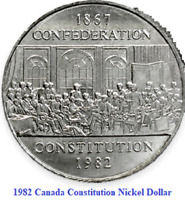 1982 Canada Constitution Nickel $1 Dollar Coin. UNC Canadian Confederation