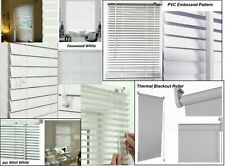 PVC/Faux wood/Embossed Venetian Window Blind Fabric Roller Blinds Easy Fit White