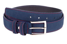 "ITALIAN Leather Mens belts Suede Blue navy RED Threaded Designer belt 40""/100 cm"