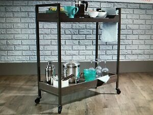 Fantastic BRAND NEW Sauder 423029 Bar Cart North Avenue Smoked Oak Finish