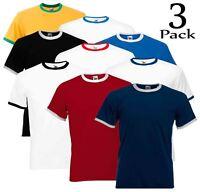 3 Pack Fruit of the Loom Mens Short Sleeve Plain Ringer T-Shirt Shirt Two Tone