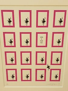 "LENE BLADBJERG screen print ""Jump in Head"" squares ballet white pink NEW RRP£70"