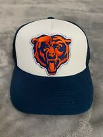 CHICAGO BEARS NFL EMBROIDERED BEAR HEAD LOGO WHITE & BLUE TRUCKER HAT CAP NEW