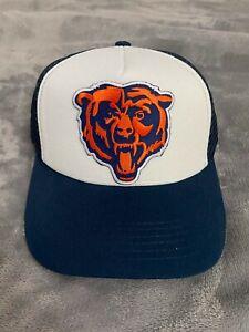 CHICAGO BEARS NFL EMBROIDERED BEAR HEAD LOGO WHITE & BLUE TRUCKER HAT CAP NEW