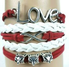 3 Wolf Heads Love Letters Red & White Infinity Layer Wrap Bracelet