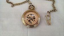 Akribos XXIV Dial Pocket Watch AK453YG Gold Tone Mechanical Movement