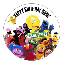 Sesame Street Personalised Edible Kids Party Cake Decoration Topper Round Image