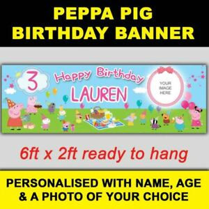 ***NEW*** PERSONALISED PEPPA PIG BIRTHDAY BANNER 6ft x 2ft SIZE