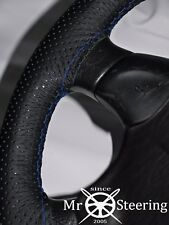 FOR MAZDA BRAVO 98-06 PERFORATED LEATHER STEERING WHEEL COVER R BLUE DOUBLE STCH