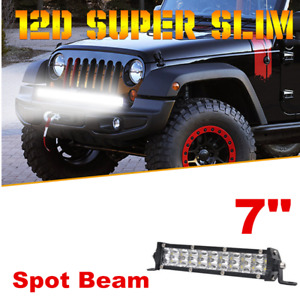 "7"" 100W Slim LED Light Bar Spot Beam For Offroad SUV ATV 4WD + Mount Bracket"