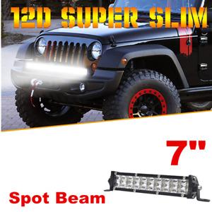 "7"" 100W Slim LED Light Bar Spot Beam For Offroad SUV ATV 4WD + Mount Bracket"