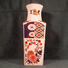 """PORCELAIN VASE WITH HAND PAINTED FLOWER DESIGN AND LEAFS 10"""" TALL"""
