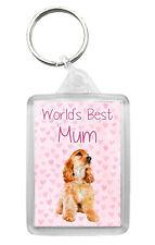 Cocker Spaniel (Gold) Keyring 'World's Best Mum' Keyfob Lovely Mothers Day Gift