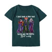 Women Short Sleeve Halloween Costumn Tops Hocus Pocus Print Letter Tshirt N E5D3