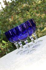 Vintage COBALT BLUE Elegant WINE HOCK Bubble GOBLET Contemporary Elegance Set/6