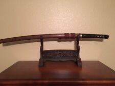 Hand Forged Clay Tempered Japanese Katana samurai sword Straight Abraisve Hamon.