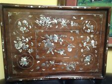 Antique 19th nacre chinois bois opium Tray SUPERBE
