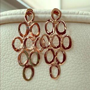 STUNNING IPPOLITA ROSE GOLD OPEN CASCADE EARRINGS w/Bag & NEIMAN MARCUS GIFT BOX
