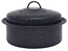 Oval Roaster Roasting Pan Turkey Black Lid Gift New Granite Ware Covered New