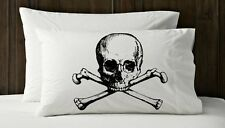 Set of Two Black Skull and Cross Bones Pirate Nautical Pillow case cover