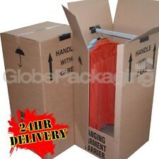 5 LARGE STRONG REMOVAL MOVING WARDROBE CARDBOARD BOXES