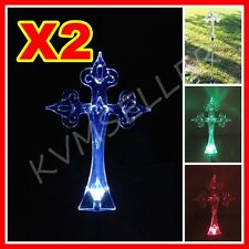 2 Solar Powered Cross Garden Yard Stake Pathway Lawn Patio Light LED Sun Power i