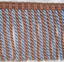 """5"""" Bullion Fringe Silver Blue Brown Match Braid Tassel Fringe Rosette Tassel"""