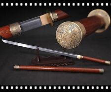 Chinese WuShu Stick Sword Katana Sharp Folded Damascus Steel Blade Rosewood Shea