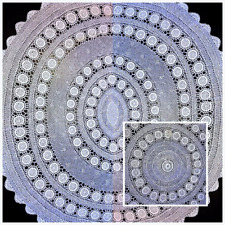 Italian Large Hand-knitted Circle Table Cover in Cotton, Diameter=15cm/60inch