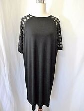 NWT ASOS CURVE Sz 14 BLACK SHORT SLEEVE SHIFT DRESS