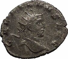 Gallienus Valerian I son Silver Ancient  Roman Coin Mars War God Cult  i44089