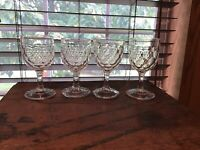 4 Antique Colonial America Flint Honeycomb 6 Oz Wine Glasses RARE