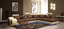 Sofá de Esquina Cuero Tapicería Asiento Conjunto Muebles para Salón En Forma L