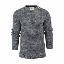 Mens Jumper Brave Soul Meteor Ribbed Knited Crew Neck Sweater With Shoulder Zip Navy / Silver Grey Medium