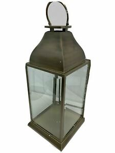 """Pottery Barn Chester Brushed Lantern Brass Large 26"""" GLASS CRACKED (READ DESCRIP"""