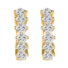Women Yellow Gold Plated Crystal Cubic Zirconia CZ Hoop Earrings Jewelry Gifts