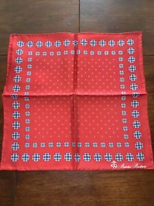 Brooks Brothers Red Pocket Square, Scarf, handkerchief NEW RRP £55 SILK Blue Dot